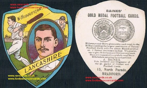 1900s Bill Huddleston Lancashire cricket bowler & batsman Baines card